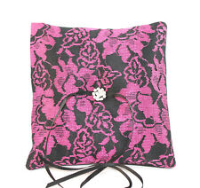 Gothic Wedding Ring Pillow Black and Cerise