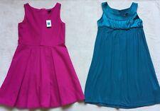 Gap Kids Girls Lot of 2 Dresses Sz 8, Pink Flared, Teal Empire Waist, Sleeveless