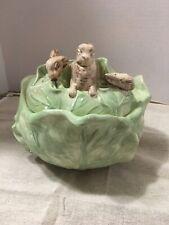 Vintage Holland Mold Ceramic Cabbage Bowl Bunny Rabbit on Lid