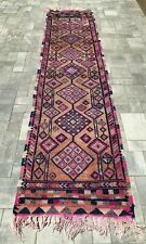 """Turkish Wool Runner, Vintage Hand Knotted Soft Pile 11'9""""x 2'8"""", Free Shipping!"""