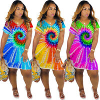 Women New Tie Dye Print V Neck Pockets Short Sleeves Lovely Summer Casual Dress