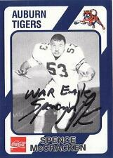 SPENCE McCRACKEN Autographed Signed 1989 card Auburn Tigers COA