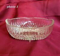 "Vintage INDIANA Oval Footed Bowl Diamond Pattern Pressed Clear Glass  8.5"" x 5.5"