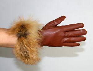 Brand New Tan Lambskin Leather Gloves Red Fox Fur Trim Efurs4less
