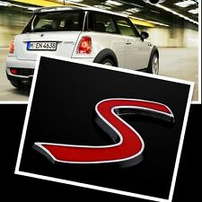 Metal Red S logo For BMW mini Cooper S Car Emblem Badge Decal Sticker