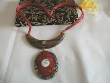 "PRETTY NEW RED CORDED ABALONE  SHIVA SHELL   WOODEN OVAL PENDANT 19"" NECKLACE (2"