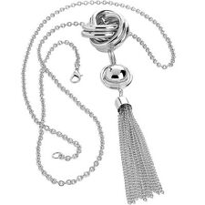 Fashion jewellery silver colour tassel twisted link bead long fitting necklace