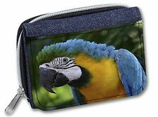 Blue+Gold Macaw Parrot Girls/Ladies Denim Purse Wallet Christmas Gift, AB-PA10JW