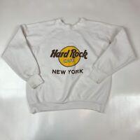 Vintage 90s Crewneck Sweatshirt Large White Hard Rock Cafe New York Graphic