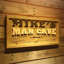 wpa0184 Name Personalized MAN CAVE Sports TAVERN Wood Engraved Wooden Sign