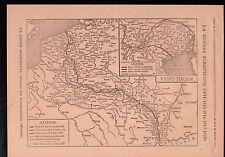 WWI Map Carte Suisse France Belgique Italia Italy Italie 1919 ILLUSTRATION