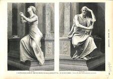 La Prière Monument Général de la Moricière Cathédrale de Nantes GRAVURE 1879