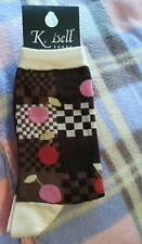 K Bell Novelty Fashion crew Socks, Pink Red Cherries Brown Checker 9-11 Made USA