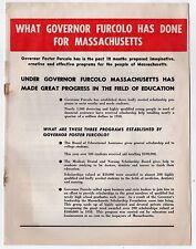 1958 FOSTER FURCOLO Governor POLITICAL Booklet MASSACHUSETTS Boston FLYER Mass