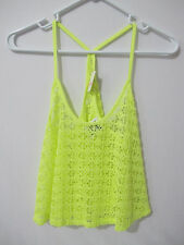 (1) NWT Victoria's Secret PINK Neon Yellow Crochet Lace Cover Up Tank XS FRE SHP