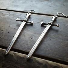 Sword Earrings Jewelry Large Witchy Silver Tone