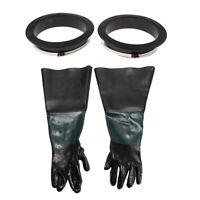 Pair of Durable Sandblasting Gloves w/Holder&Clamp for Sand Blasting Cabinet