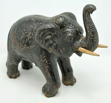 Antique Wooden Elephant Figurine Original Old Hand Carved Hard Wood Single Pc Wo