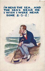 POSTCARD  COMIC  I'm near the sea and the sea's......