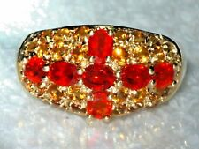 WOW MEXICAN FIRE OPAL & CITRINES 14K GOLD DOME RING N7 JEWELLERS OLD STOCK SALE