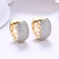 18K Gold Plated Front-Back Hoop Earrings With Swarovski Crystals