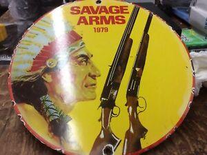 """Vintage 1979 Savage Arms Metal Sign 10"""""""