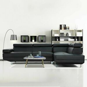 2 Pc Contemporary Bonded Leather Sectional Sofa (Black)