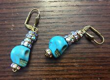 Brass Gold Blue Treat Turquoise Carved Skull Face Stacked AB Rhinestone Earrings