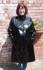 Dennis Basso hi gloss shiny black PVC vinyl raincoat funnel neck 46 chest  Lg TV