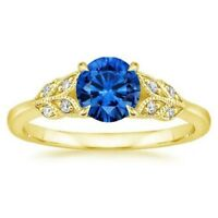 1.11 Ct Natural Diamond Blue Sapphire Ring 14K Solid White Gold Size 5 6 8 9