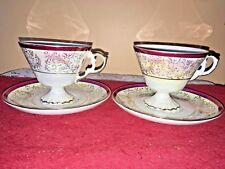 vintage porcelain opalescent footed gold & pink teacup & saucer set of 2 japan