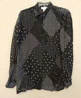 Jones New York Sports women's sz L Long-sleeve Button-up Blouse black & white
