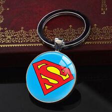 Superman Keychains Handmade Glass Pendant Silver Superhero Keyring Party Gift