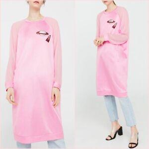 SALE Pink Sweatshirt Long Sleeve Midi Tulle Dress Mango L UK 12 US 8 ❤