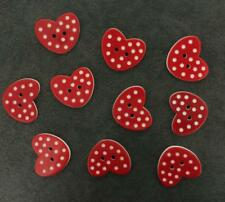 lot 10 red heart white polka dot heart buttons love loveheart plastic craft 20mm