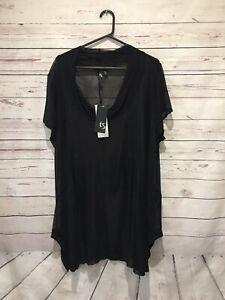 New TAKING SHAPE Size L (AU 20 22) Black Mesh Short Sleeve Tunic Top  RRP 99.95