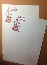 Personalised Guitar Music letter writing stationery paper (Purple tones)