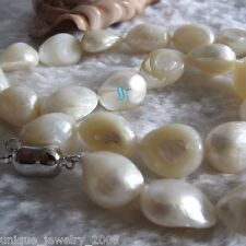 """18"""" 10-12mm White Baroque Freshwater Mother of Pearl Necklace"""