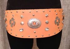MEXICAN INDIAN Handmade Tan Leather Cowboy Cowgirl Studded Silver Concho Belt M