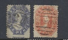 Tasmania 1864-69 Qv (Scott 33-34) Ave/F Used