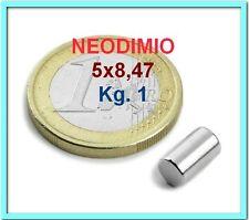 5 PEZZI NEODIMIO MAGNETE 5x8,47 mm 1 KG. CALAMITA CALAMITE MAGNETI N45
