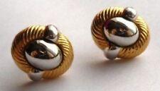 très jolies boucle d'oreilles percées bijou vintage couleur or argent *4579