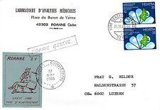 TIMBRES DE  GREVE ROANNE 1988 SUR LETTRE POUR LA SUISSE