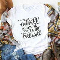 Football & Fall Y'all T-shirt Fashion Women O-Neck Graphic Autumn Tee Shirt Top