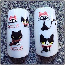 Nail Art 3D  Decals/Stickers Glittery Merry Christmas Crazy Cats #153 BJC-026
