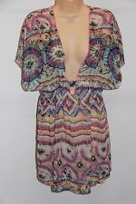 New Miken Swim Swimsuit Bikini Cover Up Dress Tunic Size M Multi
