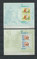 Portugal - Madeira #74a & Azores #322a  Set of 2 Mint NH EUROPA Souv Sheets