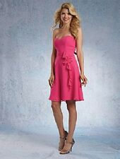 ALFRED ANGELO BRIDESMAID DRESS STRAPLESS PARTY PROM CHIFFON FUCHSIA PINK 6 NWT