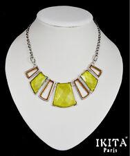 Luxus Statement Kette Halskette Collier  Ikita Paris Glas  Metall Grau Kollier