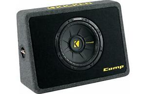 "Kicker 40TCWS104 Ported truck enclosure with one 4-ohm 10"" CompS subwoofer"